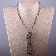 Bohemian knotted long Crystal Necklace