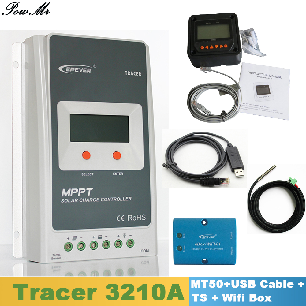 EPever Tracer 3210A Solar Controller 30A 12V24V MPPT Regulator with MT50 Display/USB Cable/Temperature Sensor/Wifi Box Including одноветвевой канатный строп заплетка кантаплюс 1ск 8 0 6 0м