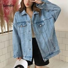 Semfri Casual Blue Jeans Jacket 2019 Women Korean Loose Pocket Denim Coat Female Cowboy Winter Jean Outwear Jaquetas