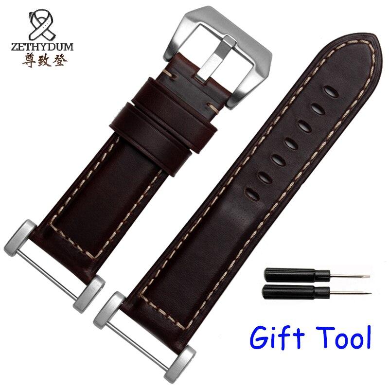 Quality genuine leather watchband 24mm brown bracelet for suunto core with adapter ремешок для suunto core leather коричневый