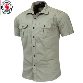 Fredd Marshall New Mens Military Shirt Men Short Sleeve Cargo Shirts 100% Cotton Casual Solid Shirt Male Pocket Work Shirt 55889