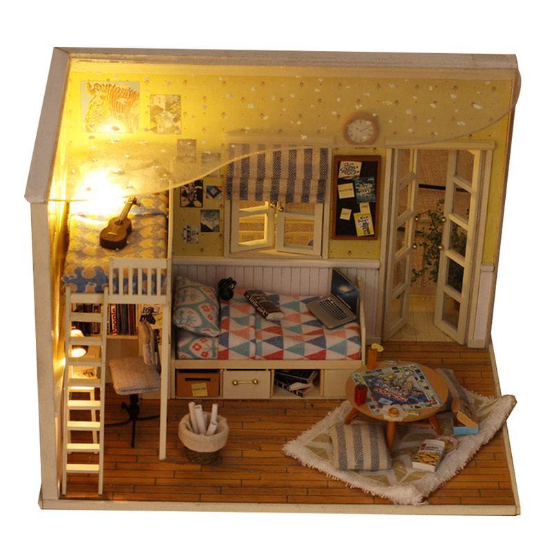 K-029 Droom Jeugd Diy Kleine Zee View Huis Houten Hut Villa Model Assemblage Helen Coast Gift Meubels Kid Verjaardag Meisje Gift