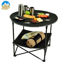 Outdoor Lightweight Folding Table with Cup Holders support, Portable Camp Table waterproof with carry bag traveling BBQ Hiking