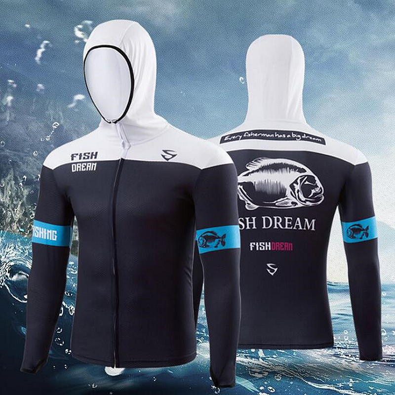 New Contrast color Outdoor sports fishing clothes breathable quick dry Anti UV Anti mosquit long sleeve hooded fishing Shirts