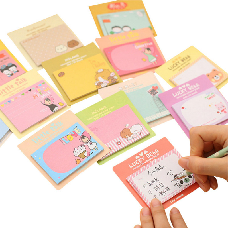 50 PCs Korean Stationery Cute Stickers Cartoon Creative Notes South Korean Memo Sheets  Kawaii StationeryMemo Pads   -