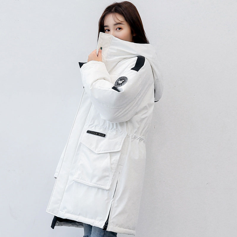 Big pickets hooded white duck   down     coat   outerwear women fashion loose fit thickening warm winter   down   jacket new 2019 autumn