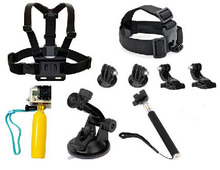 FeoconT Outdoor Sports Kit Floating Grip+Head Strap Mount+J-Hook+adapter+Chest Belt Strap Mount+Tripod+ Suction Cup For Gopro