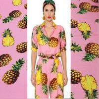 Yeni polyester yumuşak ipek streç saten kumaş ananas baskılı kumaş DIY taklit moda kadınlar elbise için kumaş malzeme
