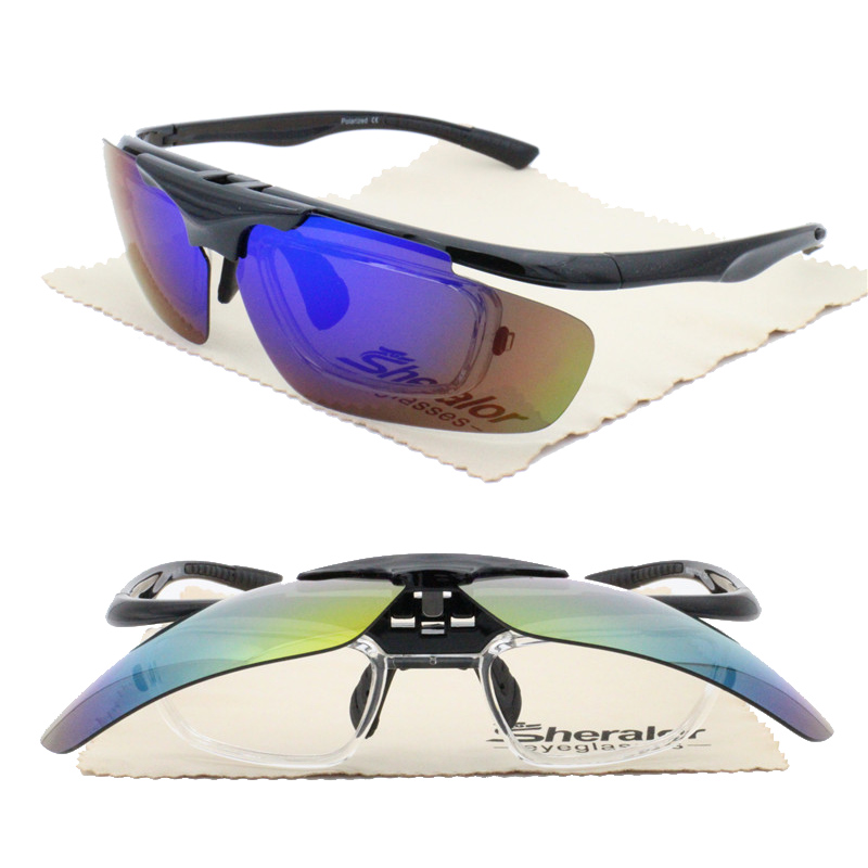 4 degrees bending front rim 6012 high quality flip up UV400 polarized anti-slip sport solar sunglasses with prescription lens(China)