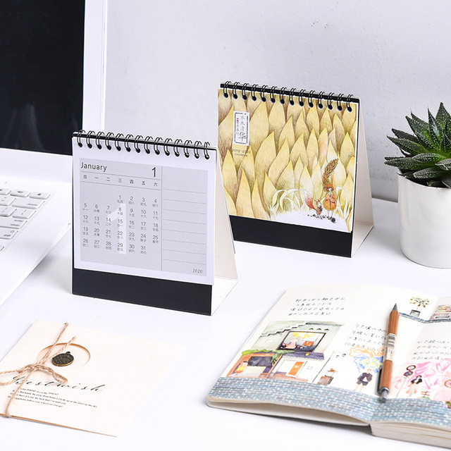 2020 Year of the Rat Calendar Cute Cartoon Unicorn Memo DIY Notepad Desktop Planner Calendar 3