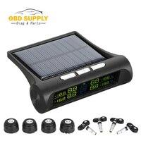 Car Security System TPMS Toool Solar TPMS Car Tire Tyre Pressure Alarm Monitor System Display 4 Internal / External Sensor