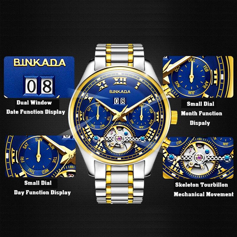 أعلى العلامة التجارية الفاخرة الهيكل العظمي الميكانيكية ووتش BINKADA جديد توربيون الرجال الساعات ساعة الرجال الذهب ساعات أوتوماتيكية الرجال ساعة اليد-في الساعات الميكانيكية من ساعات اليد على  مجموعة 3
