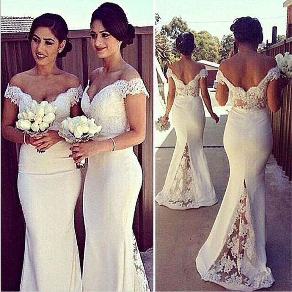 2019 A line Mermaid White Backless   Bridesmaid     Dress   Women Fashion Elegant Off Shoulder Lace   Bridesmaid     Dresses   Sexy Cap Sleeve