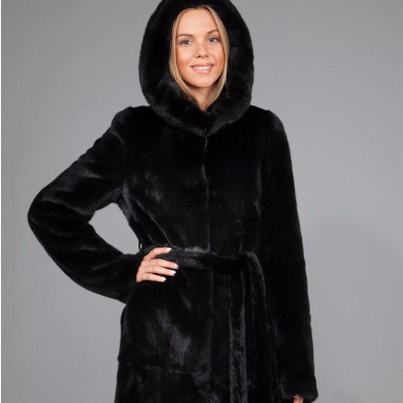 Winter dicken warmen Pelzmantel mit Kapuze X-lange schwarze - Damenbekleidung - Foto 4