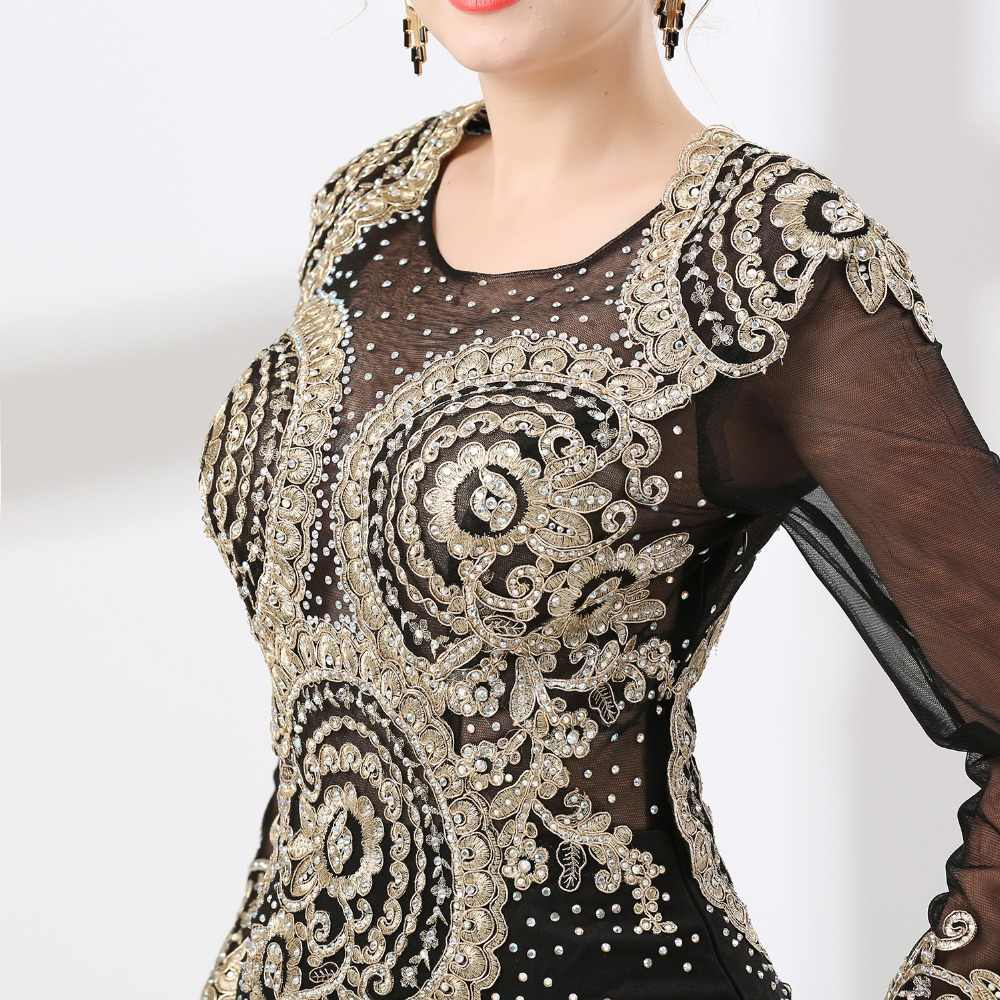 JaneVini בציר ערבית שחור ארוך שרוולי סאטן אמא של הכלה שמלות זהב אפליקציות חרוזים בת ים ערב מסיבת שמלות
