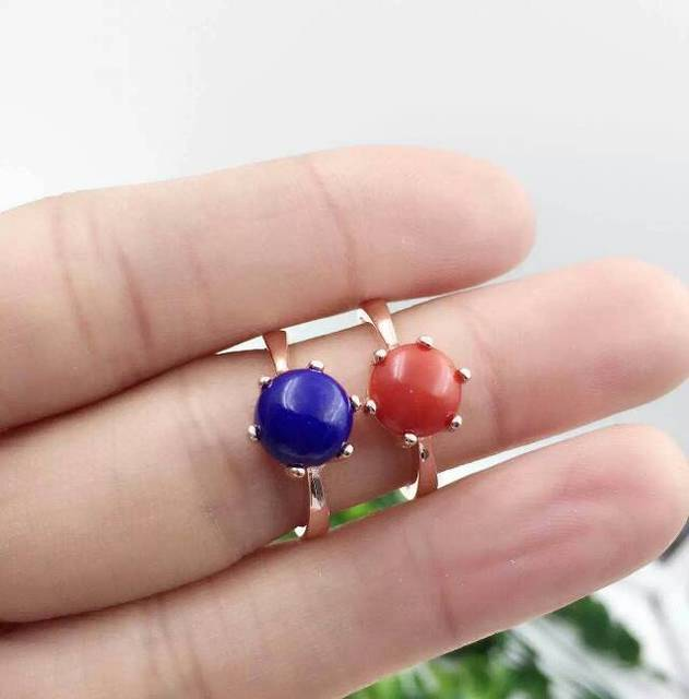 Natural blue lapis lazuli Ring Natural red coral Ring 925 sterling silver trendy Elegant Simple round women's party fine Jewelry