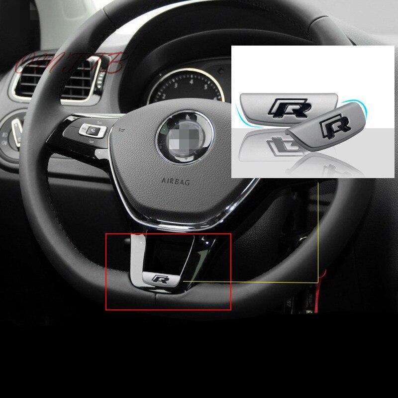 3D Metal R Rline R-LINE emblem badge car sticker for Volkswagen VW GOLF 5 6 7 MK7 B8 Passat steering wheel Car styling