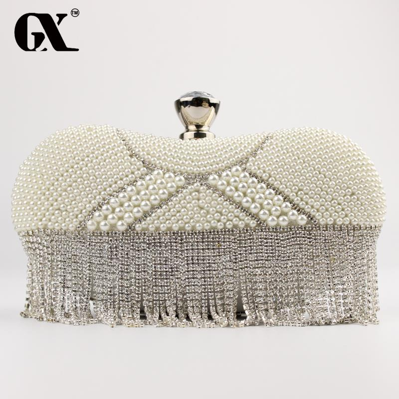 Gx Luxury Pearl Crystal Las Evening Clutches Light Topaz Women Party Hard Case Gold Color Handbags Shoulder Chain Gift Box In Bags From Luggage