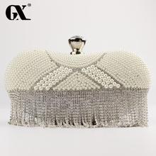 GXหรูหรามุกคริสตัลสุภาพสตรีเย็นC Lutchesแสงบุษราคัมผู้หญิงพรรคฮาร์ดกรณีสีทองกระเป๋าถือกระเป๋าสะพายโซ่กล่องของขวัญ