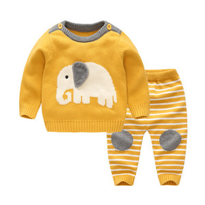 Spring&Autumn Baby Girl/Boy Set Wool Knitted Cotton Sweater Clothing Sets Infant Warm Pullover Pants Suit Newborns Toddler Cloth(China)