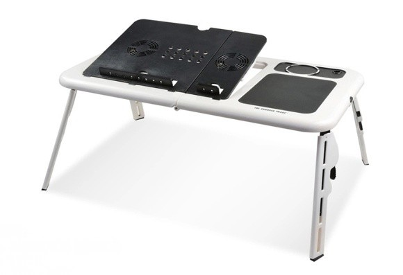 Latest Design Folding Laptop Table Sy Portable Lap Desk Stand With Dual Cooling Fans For Notebook