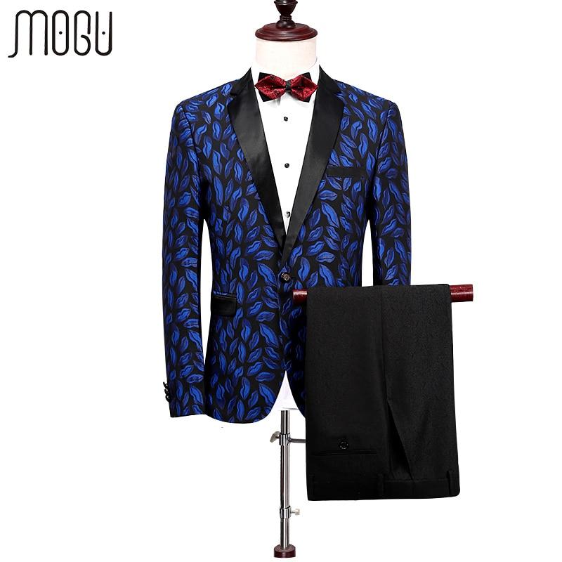 MOGU Deux Pièces Hommes Costumes 2017 Printemps Nouveau Mode Imprimé De Mariage robe Hommes Slim Fit Floral Costume Hommes Asiatique Taille Hommes de Vêtements