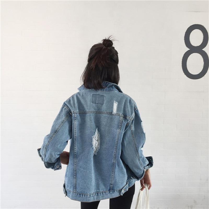 Hiver Pour Nzk01 Base Manteau Casual Loose En Fit Denim Veste Jeans Femmes Jean De 2018 RwUWAYqfzp