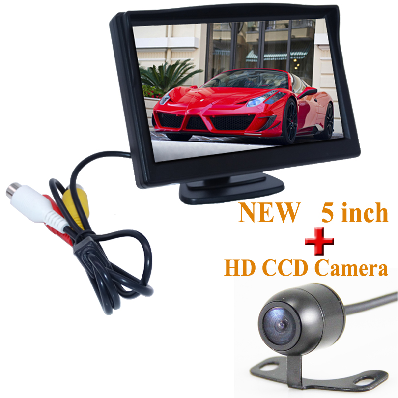 Nouvelle Auto Aide Au Stationnement Voiture de Vision Nocturne CCD Vue Arrière caméra Avec 5 pouce Couleur LCD Vidéo de Voiture Pliable Moniteur caméra