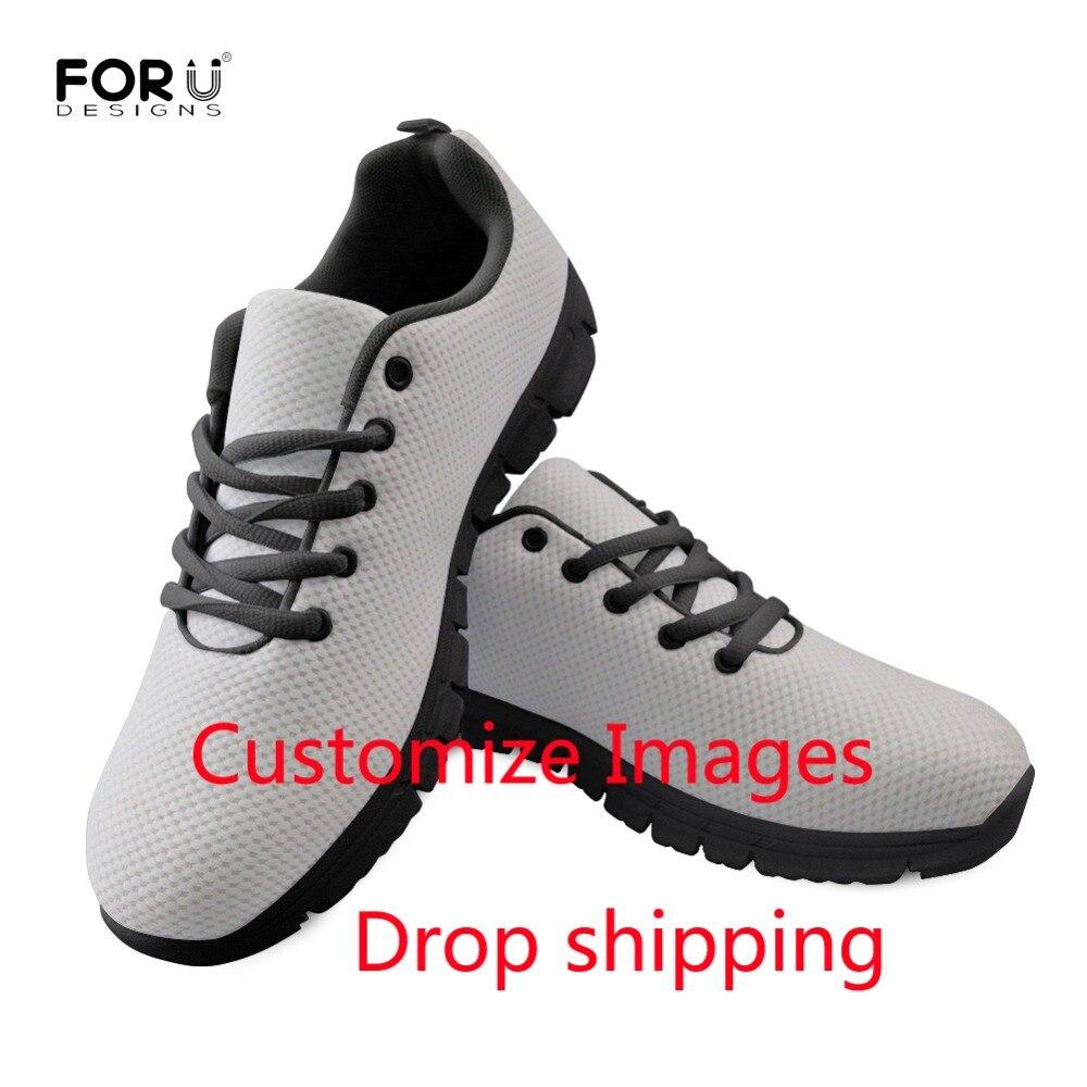 FORUDESIGNS Womens Sneaker Black Custom Logo Print Casual Flats Shoes Mesh Breathable Female Nurse Ulzzang Shoes