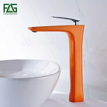 FLG New Style Hot Sale Basin Faucet Soild Brass Chrome Cast 2 Platform Heightening Color Orange Painting Bathroom Tap 109-33