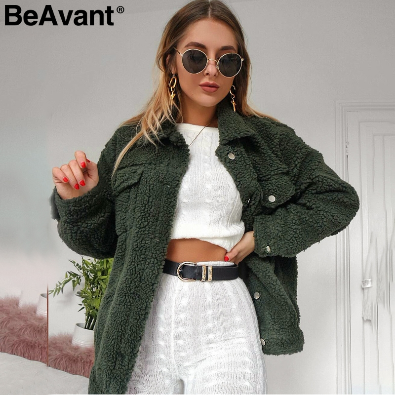 BeAvant Lamb Wool Winter Women Teddy Fur Coat Warm Trendy Furry Pink Lady Coat Jacket Pocket Short Faux Fur Coat Outerwear 2019