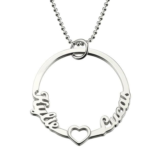 Wholesale silver circle name necklace circle of love necklace heart wholesale silver circle name necklace circle of love necklace heart circle 2 names pendant love heart aloadofball Choice Image