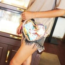 Sac Transparent Femme Heart Shaped Jelly Luxury Women Colorful Laser Mini Holographic Clutch Fashion Messenger Shoulder Bag