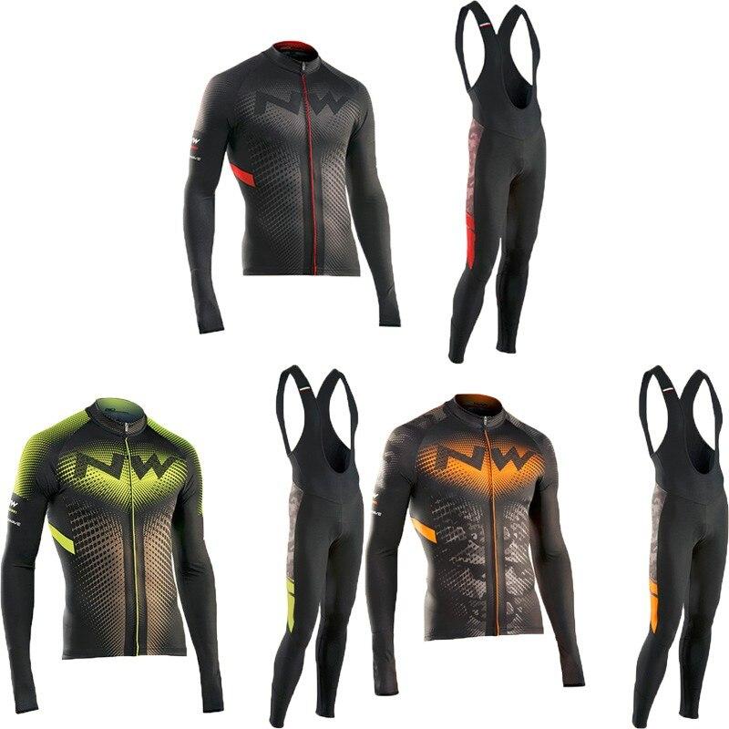 2017 Pro Team Cycling Jersey Quick Dry Long Sleeve Jerseys And Cycling Bib Shorts <font><b>Sets</b></font> Cycling Clothes 3 Color