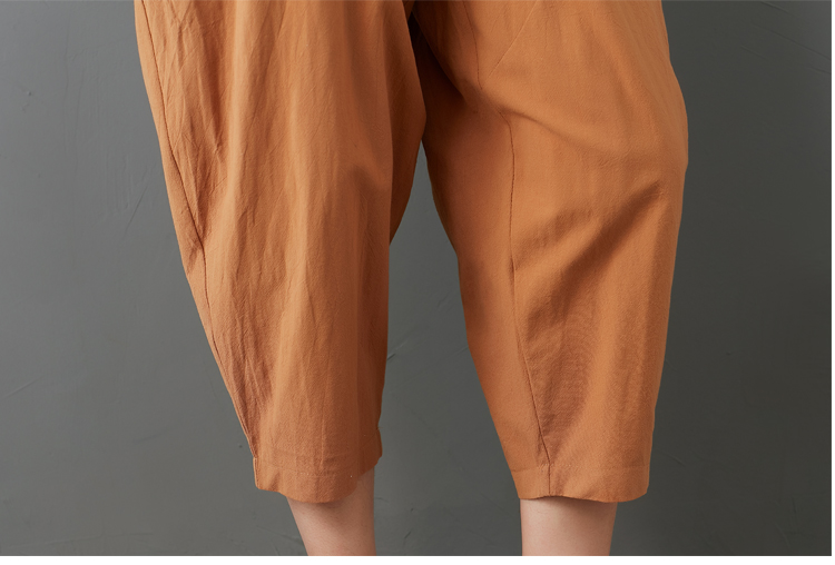 Summer Elastic Waist Cotton Linen Pocket Harem Pant Vintage Loose Mori Girl Oversized Home Tracksuit Plus Size Trouser Workout 59