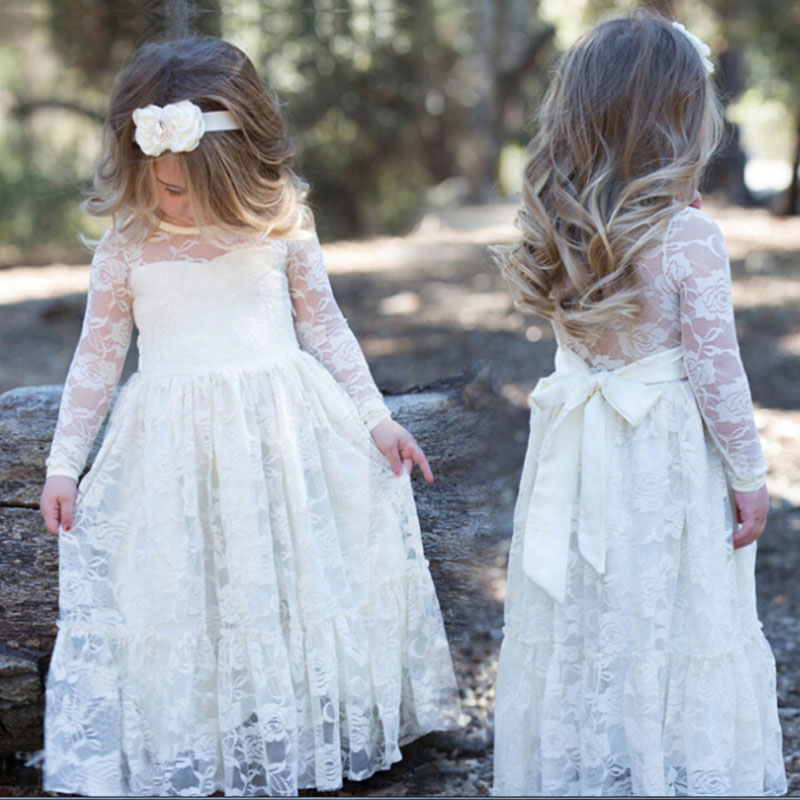 2018 Girl Lace Long Maxi Dress Rose Baby Kids Princess Wedding Prom Party White Cream Big Bow Long Sleeve First Communion Dress girl lace long dress with sweet flower for age 3 7 baby kids princess wedding prom party white cream big bow long sleeves dress