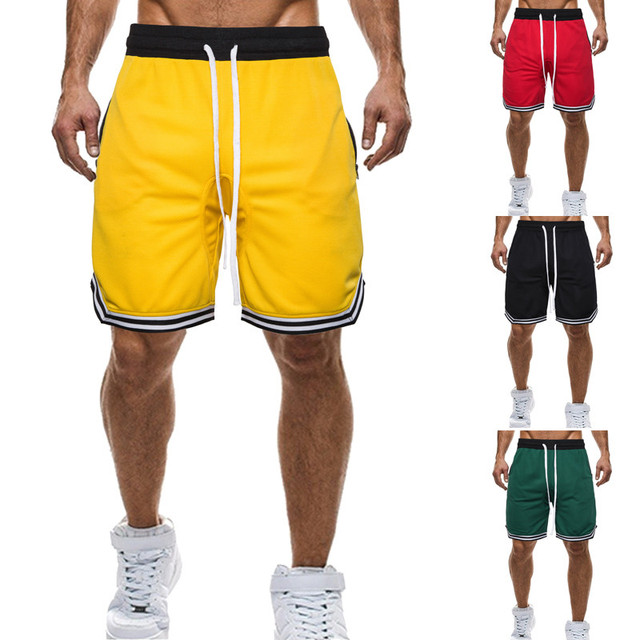 New brand high quality summer men's casual shorts high street style zipper colorful lace mesh breathable basketball shorts