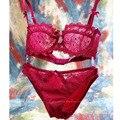 Hot sale Da Moda transparente conjunto de sutiã sexy plus size Mulheres rendas bordados ultra-fino vermelho azul cueca terno Fábrica atacado