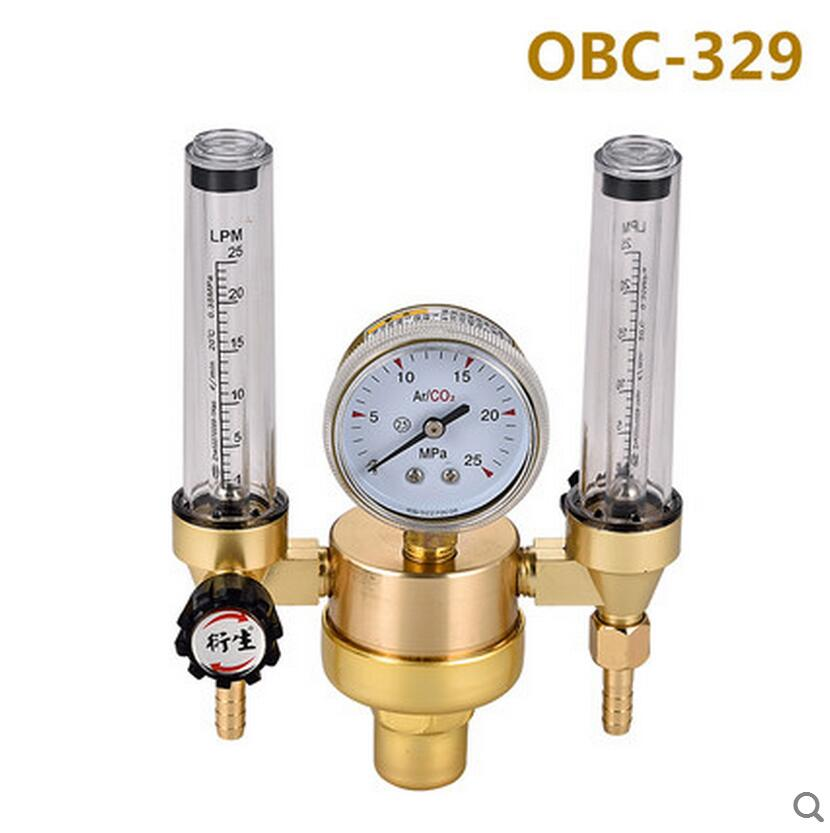 Double Meters OBC-329 AR Reducer Pressure Gas Flowmeter Argon Gas Regulator for TIG Welding Machine double meters argon regulator welding regulator argon gas reduced pressure meter 25mpa