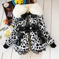 BibiCola  baby parkas Leopard Faux Fur Collar Coat Girls Children  leather Winter warm snowsuit christmas Outerwear down Jacket