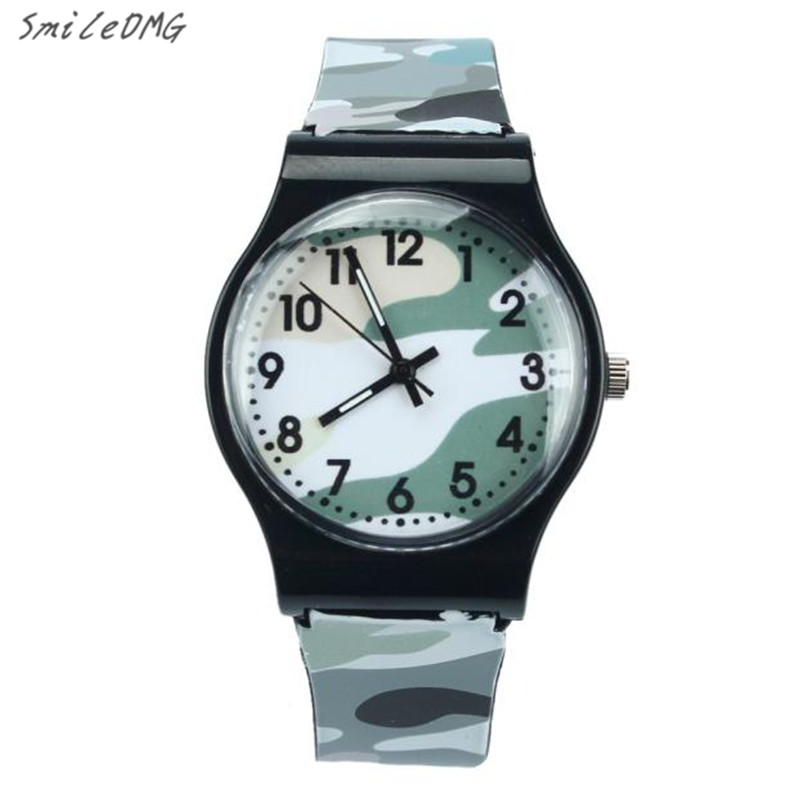 SmileOMG Hot Sale Camouflage Children Watch Quartz silicone strap Wristwatch For Girls Boy Free Shipping Christmas Gift,Sep 1 smileomg hot sale fashion women crystal stainless steel analog quartz wrist watch bracelet free shipping christmas gift sep 5