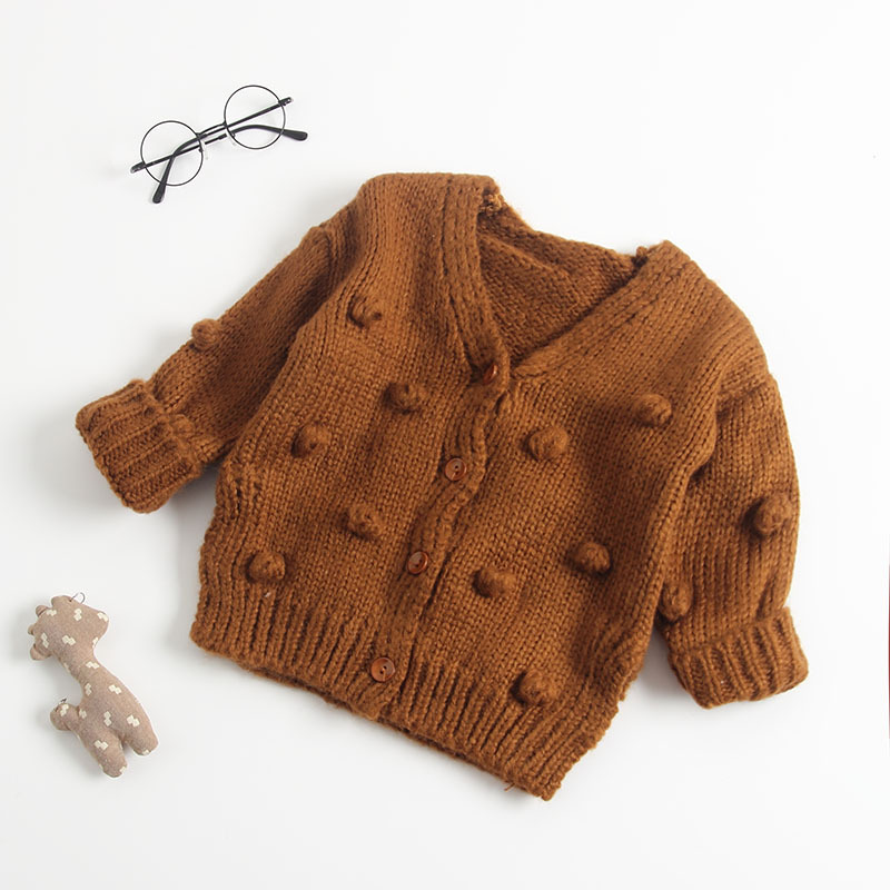 Image 4 - Baby Hand made Bubble Ball Sweater Knitted Cardigan Jacket Baby Sweater Coat Girls Cardigan Girls Winter Sweaters-in Sweaters from Mother & Kids