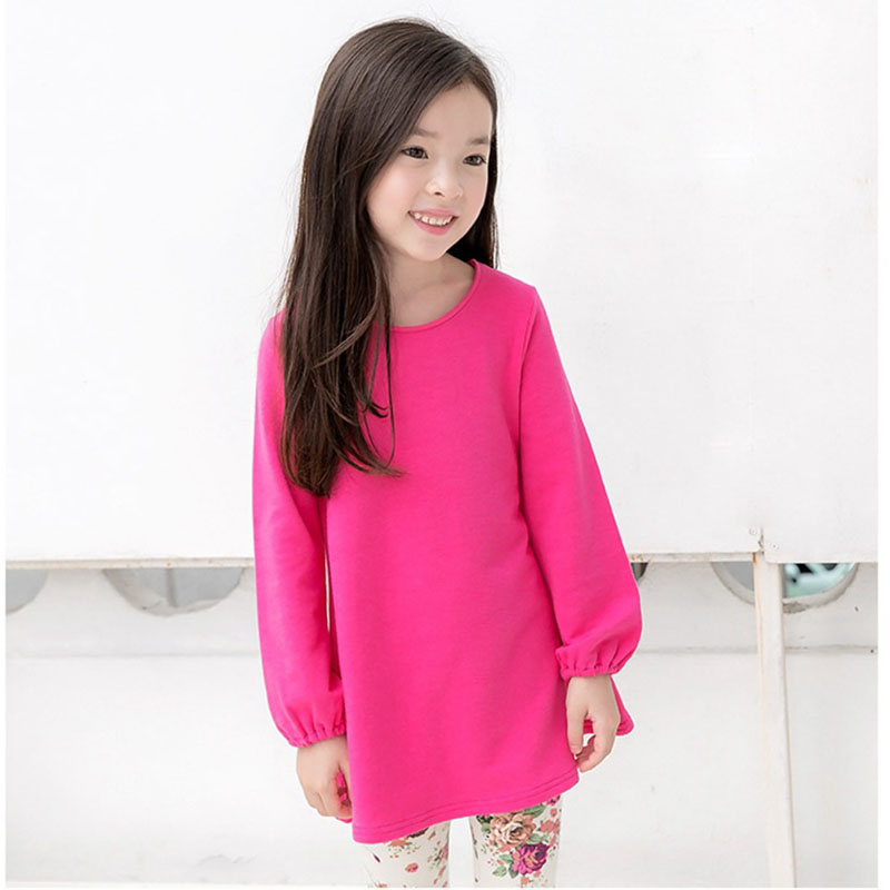 2018 Grils Autumn Winter Kids Dresses For Girls Baby Girls Plus Velvet Cotton Solid Straight Dress With Bow Bandage Puff Sleeve kids girls dresses 2018 new winter solid