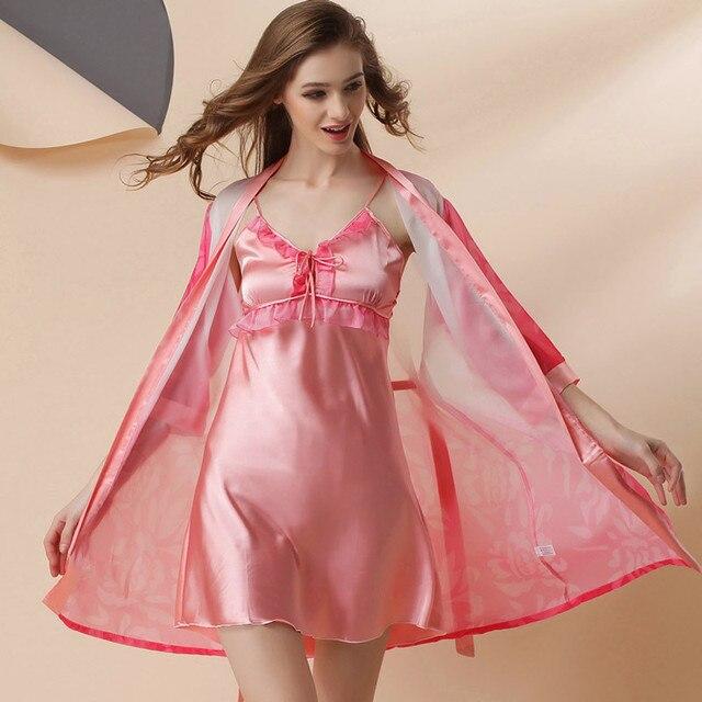 Халаты Новое Прибытие Лучшие Моды Для Batas Para Mujer Pijama Женщины Одеваются 2016 MS Платье Юбка С погонами из Двух частей P8006