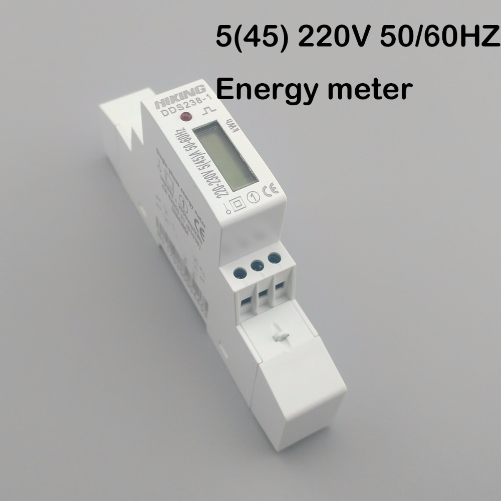 5(45)A 45A 220V 50HZ 60HZ LCD Display Single Phase Din Rail KWH Watt Hour Din-rail Energy Meter