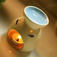 Belle poissons four parfum récipient en céramique aromathérapie brûleur à mazout mode bougeoir décoration SK082