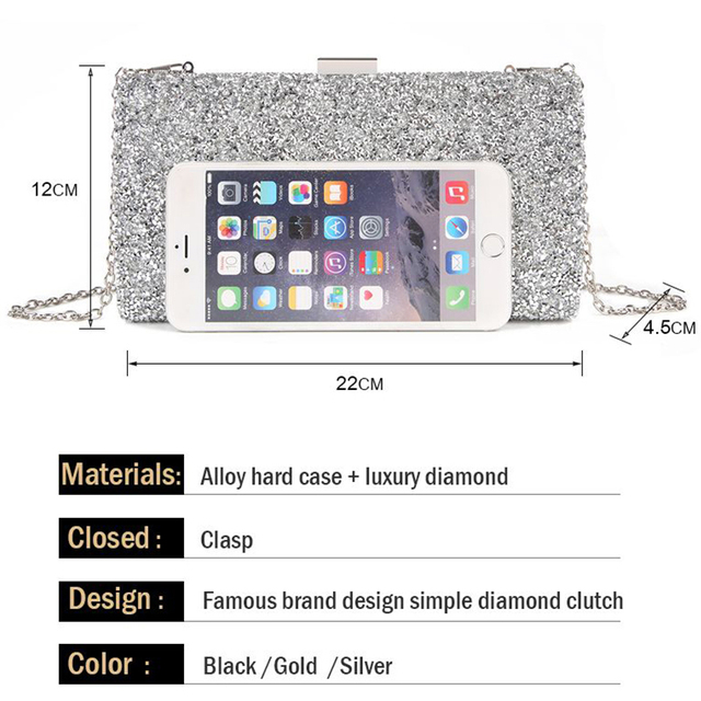 Women Clutch Bag Diamond Sequin Clutch Female Crystal Clutch Evening Bag Wedding Purse Party Banquet Black Gold Silver Two Chain