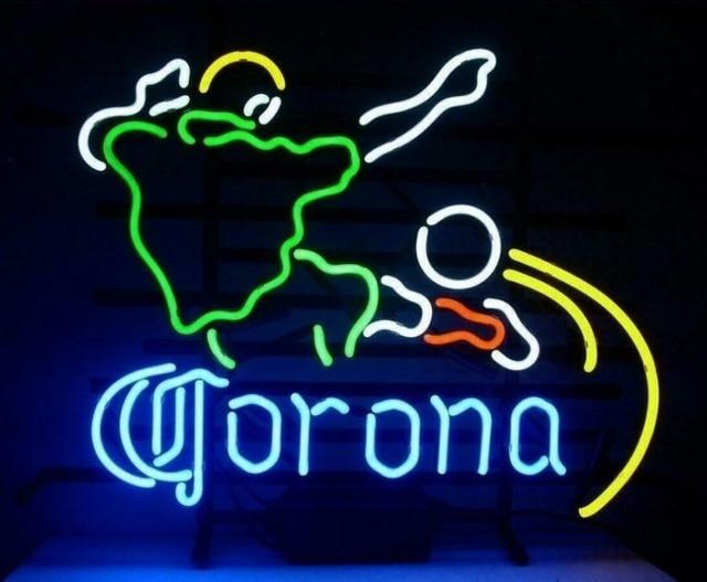 Custom Corona Soccer Football Glass Neon Light Sign Beer Bar