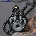 Natural Stone Obsidian Pendant Bead Necklace Black A Carved Double Pixiu Jade Fine Carving Polishing Lucky for Men Women