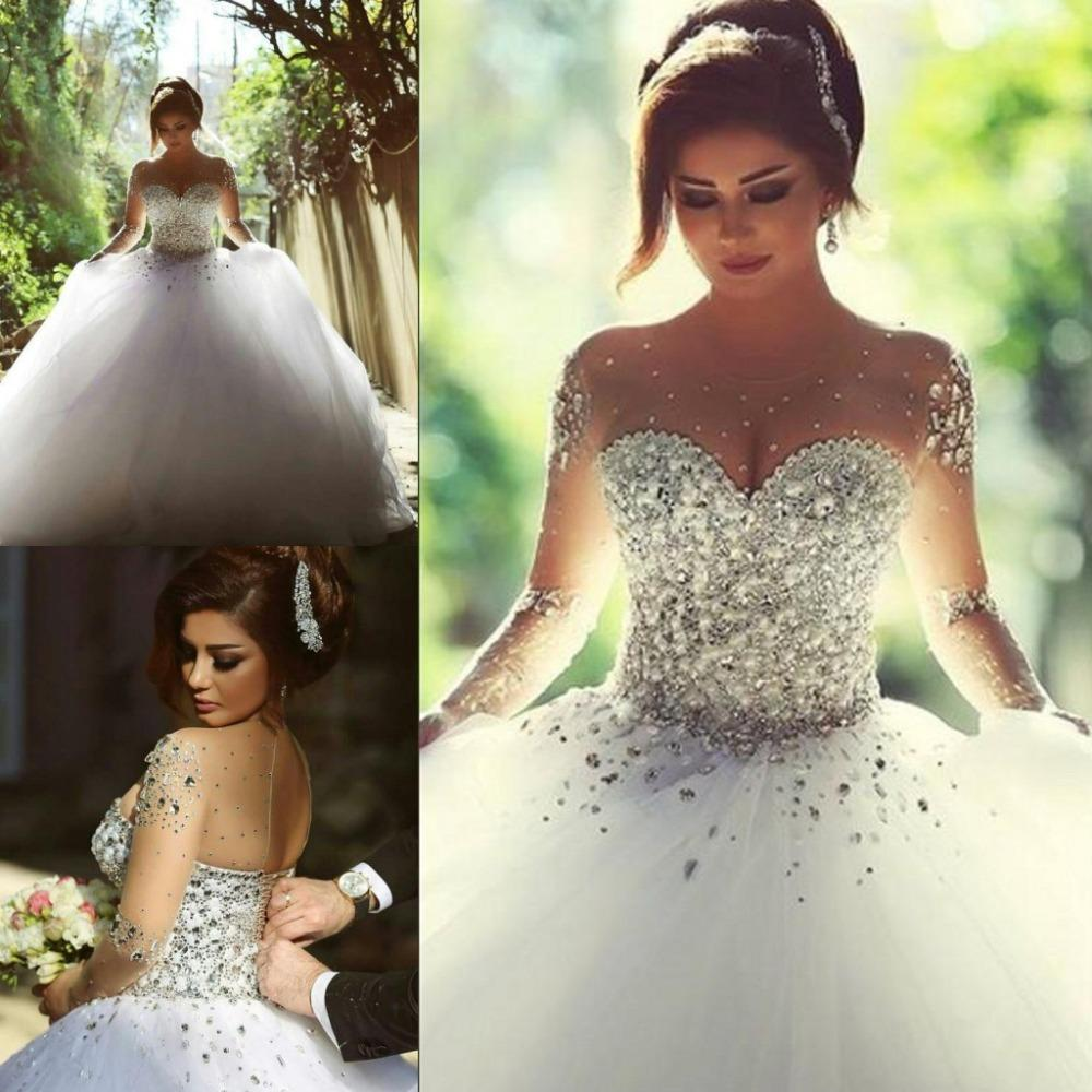 2017 Arabic Luxury Lace Wedding Long Sleeve Dresses Crystal Bead Illusion  Back Neckline Ball Gown Bridal Gowns Vestidos De Noiva 1be77165234a